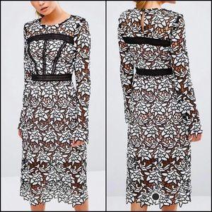 True Decadence Floral Crochet Lace Midi Dress